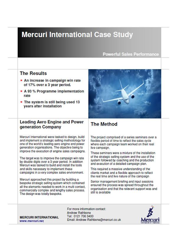Prípadová štúdia Leading Aero Engine and Power generation Company